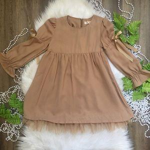 Mae Li Rose Girls Tan Dress